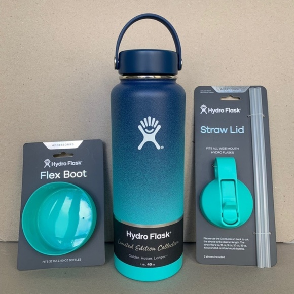 arrives fb502 68088 40oz Hydro Flask Hawaii + Straw Lid + Boot Set NWT